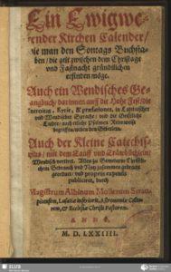 Titelblatt des ersten gedruckten Buches in sorbischer Sprache von 1574