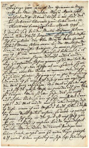 Handschriftlicher Lebenslauf von Martin Böhmer (1717-1796)